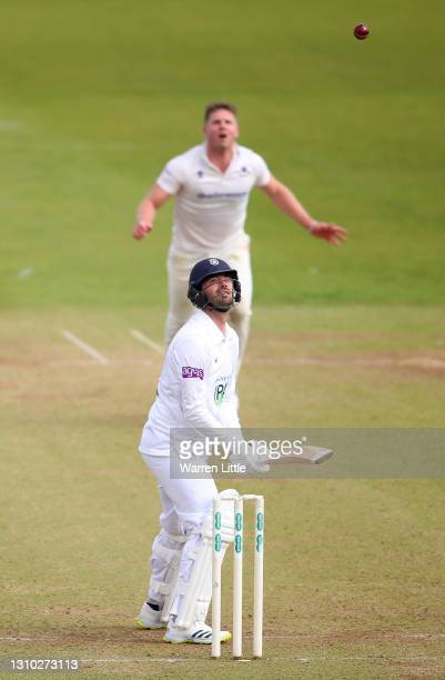 Ian Holland of Hampshire keeps his eye on the ball during a pre-season warm up match between Sussex and Hampshire at Ageas Bowl on April 01, 2021 in...