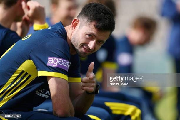 Ian Holland poses for a photo during the Hampshire County Cricket Club photocall at The Ageas Bowl on March 27 2019 in Southampton England