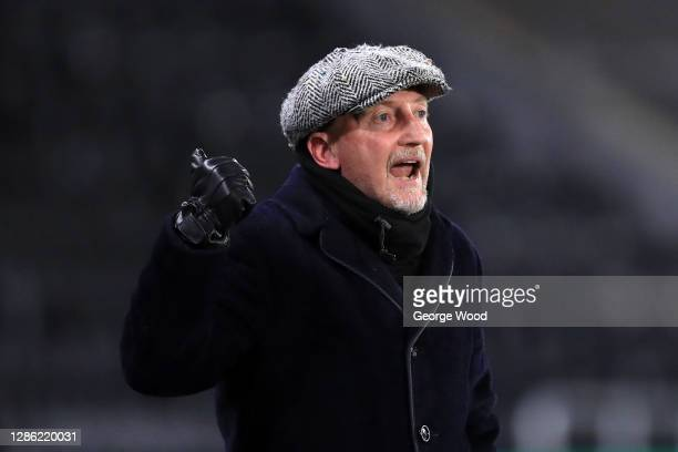 Ian Holloway, manager of Grimsby Town reacts during the EFL Trophy match between Hull City and Grimsby Town at KCOM Stadium on November 17, 2020 in...