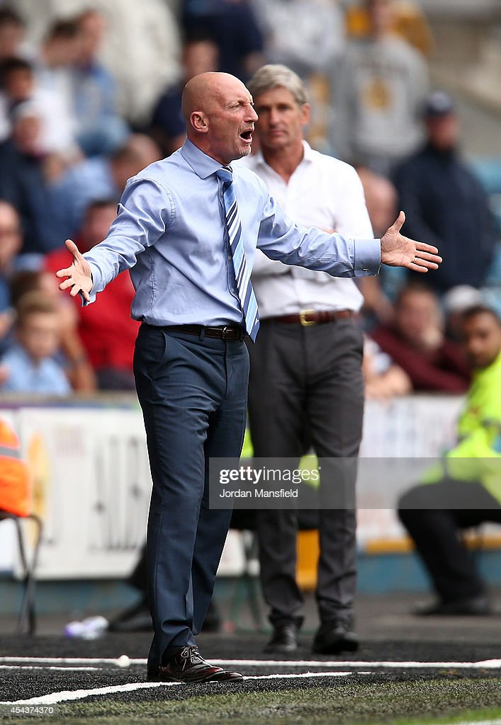 Ian Holloway, Manager of Millwall gestures from the touch-line during the Sky Bet Championship match between Millwall and Blackpool at The Den on August 30, 2014 in London, England.