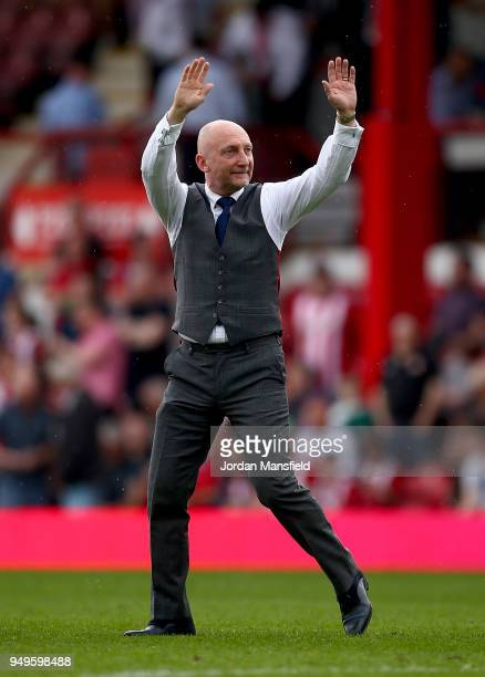 Ian Holloway manager of QPR acknowledges the fans during the Sky Bet Championship match between Brentford and Queens Park Rangers at Griffin Park on...