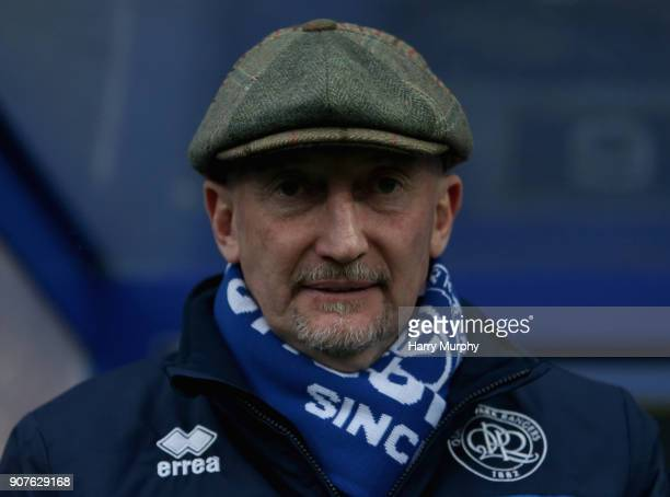 Ian Holloway Manager of Queens Park Rangers looks on prior to the Sky Bet Championship match between Queens Park Rangers and Middlesbrough at Loftus...