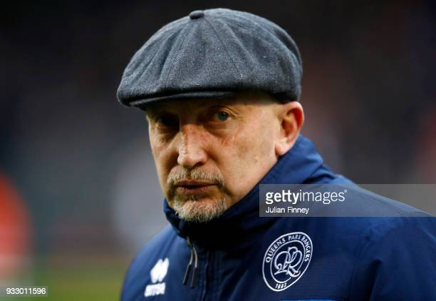Ian Holloway, Manager of Queens Park Rangers looks on prior to the Sky Bet Championship match between Fulham and Queens Park Rangers at Craven...