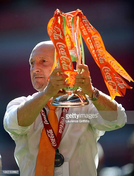 Ian Holloway of Blackpool celebrates promotion to the Premier League during the CocaCola Championship Playoff Final between Blackpool and Cardiff...