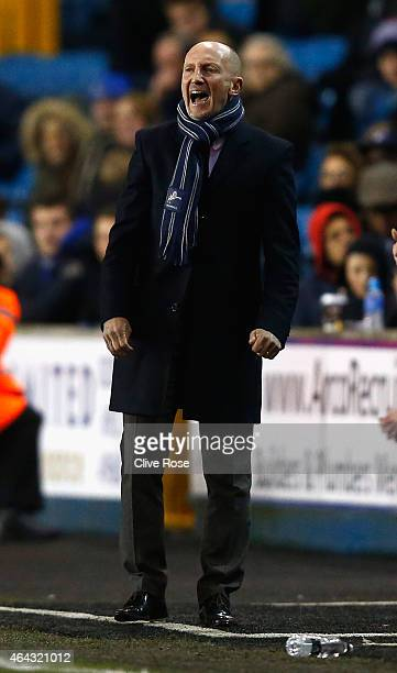 Ian Holloway of Millwall looks on during the Sky Bet Championship match between Millwall and Sheffield Wednesday at The Den on February 24 2015 in...