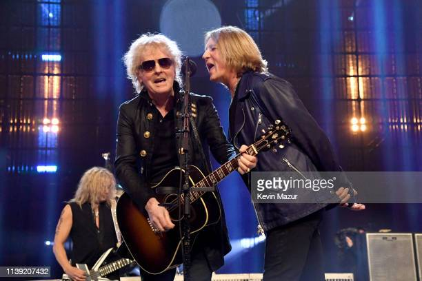 Ian Hunter and inductees Rick Savage and Joe Elliott of Def Leppard perform onstage during the 2019 Rock & Roll Hall Of Fame Induction Ceremony -...