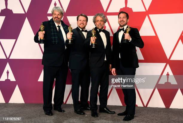 Ian Hunter JD Schwalm Paul Lambert and Tristan Myles winners of Best Visual Effects for First Man pose in the press room during the 91st Annual...