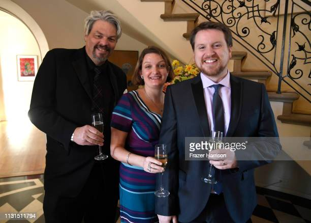 Ian Hunter Kirsty Myles and Tristan Myles attend the Reception For UK Oscars Nominees at British Consul General's Residence on February 22 2019 in...