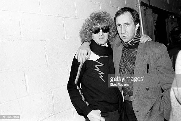 Ian Hunter of Mott The Hoople and Pete Townshend of The Who backstage at the Ronnie Lane ARMS Benefit Concert at Madison Square Garden in New York...
