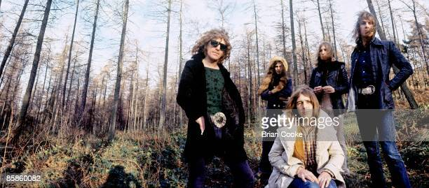 Ian Hunter, Overend Watts, Mick Ralphs, Buffin, Verden Allen, Mott The Hoople pose for their Wildlife album cover on Carlton Bank in the Cleveland...
