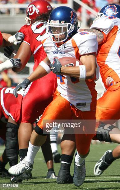 Ian Johnson of the Boise State Broncos runs with the ball against the Utah Utes on Saturday September 30, 2006 during their game in Salt Lake City,...