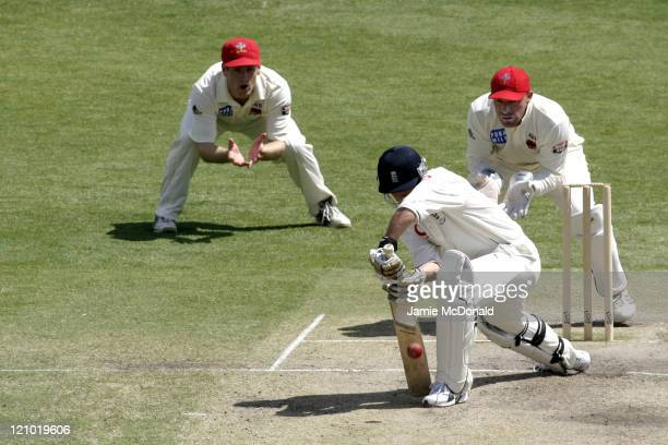 Ian Jones of England playing South Australia in the Final Day of their last Tour Match before the beginning of the Ashes next week Adelaide Australia...