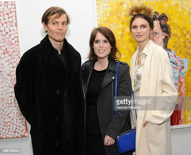 Ian Jones, Princess Eugenie of York and Tali Lennox attend Tali Lennox Exhibition Opening Reception at Catherine Ahnell Gallery on March 18, 2015 in...