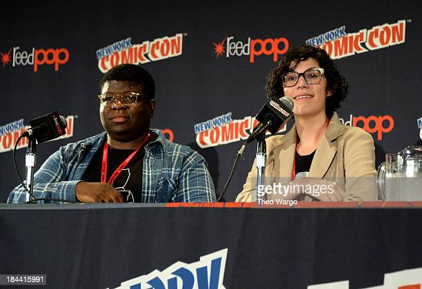 Ian JonesQuartey and Rebecca Sugar speak at Cartoon Network's Steven Universe panel during New York Comic Con 2013 at the Javits Center on October 13...