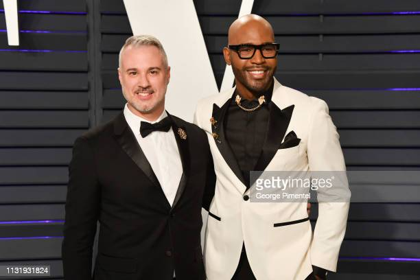 Ian Jordan and Karamo Brown attend the 2019 Vanity Fair Oscar Party hosted by Radhika Jones at Wallis Annenberg Center for the Performing Arts on...