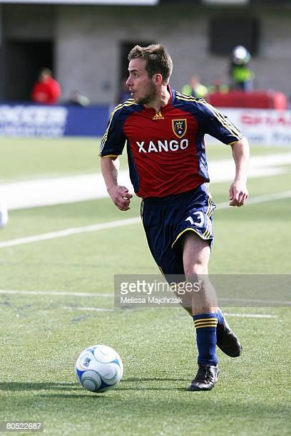Ian Joy of the Real Salt Lake kicks the ball against the Chicago Fire at Rice Eccels Stadium on March 29, 2008 in Salt Lake City, Utah.