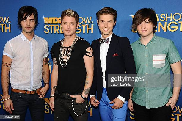 Ian Keaggy Nash Overstreet Ryan Follese and Jamie Follese of Hot Chelle Rae attend the MDA Labor Day Telethon at CBS Studios on August 7 2012 in Los...