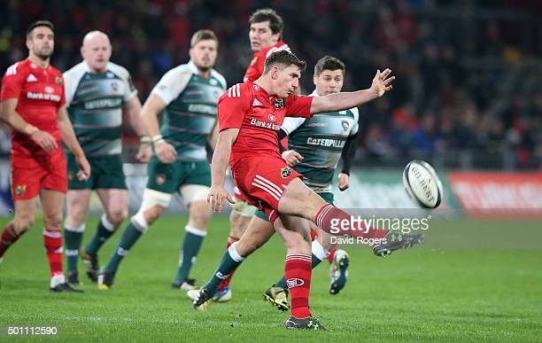 Ian Keatley of Munster kicks the ball upfield during the European Rugby Champions Cup match between Munster and Leicester Tigers at Thomond Park on...
