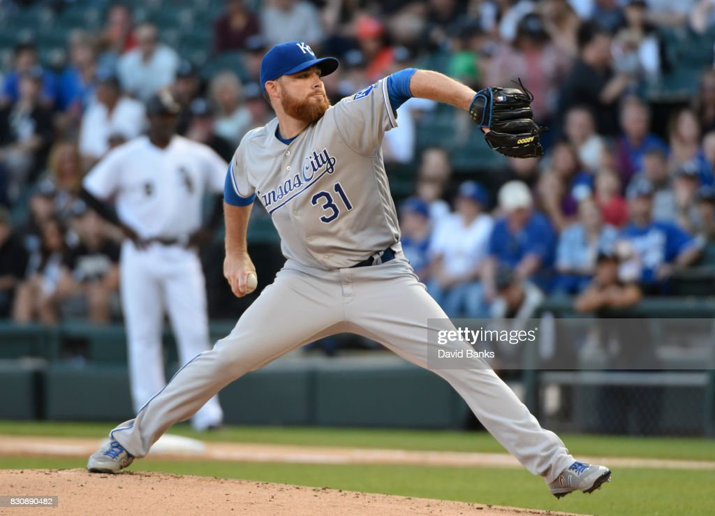 Ian Kennedy #31 of the Kansas City Royals pitches against the Chicago White Sox during the first inning on August 12, 2017 at Guaranteed Rate Field in Chicago, Illinois.