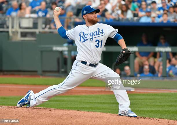 Ian Kennedy of the Kansas City Royals pitches in the first inning against the Tampa Bay Rays at Kauffman Stadium on May 15 2018 in Kansas City...