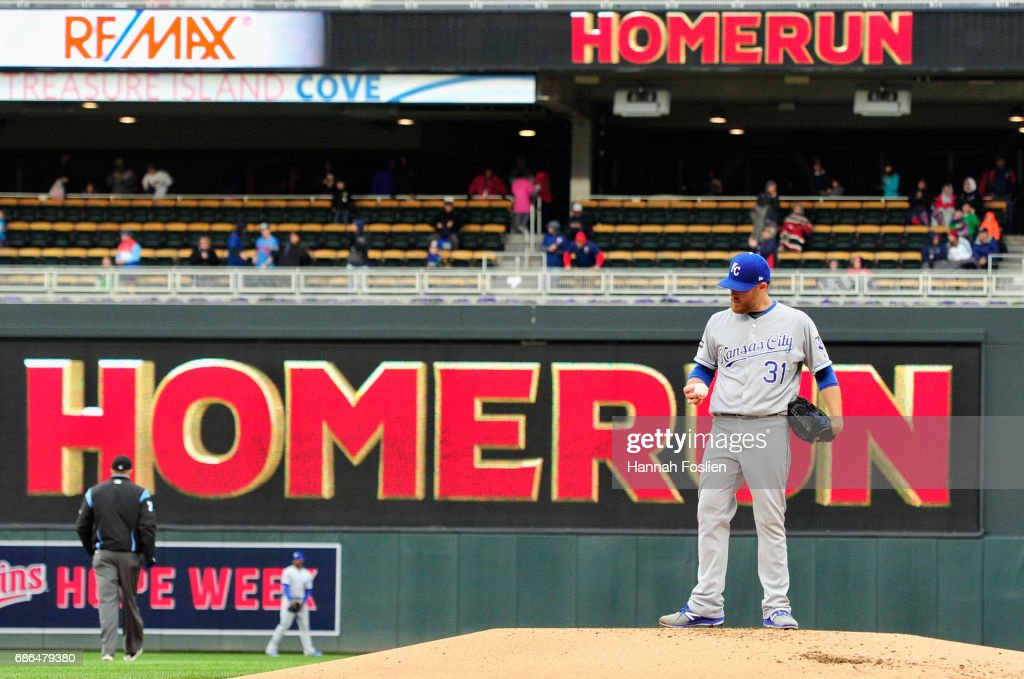 Ian Kennedy #31 of the Kansas City Royals stands on the mound after giving up a two-run home run to Robbie Grossman of the Minnesota Twins during the first inning of game two of a doubleheader on May 21, 2017 at Target Field in Minneapolis, Minnesota.
