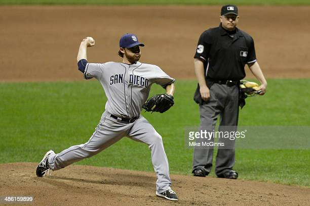 Ian Kennedy of the San Diego Padres pitches after stretches a muscle in his leg during the bottom of the fifth inning against the Milwaukee Brewers...