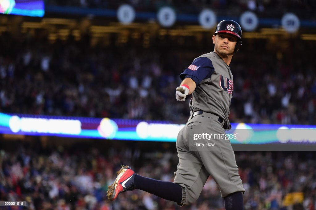 Ian Kinsler #3 of team United States reacts as he rounds the bases after hitting a two-run home run to take a 2-0 lead in the third inning over Puerto Rico during Game 3 of the Championship Round of the 2017 World Baseball Classic at Dodger Stadium on March 22, 2017 in Los Angeles, California.