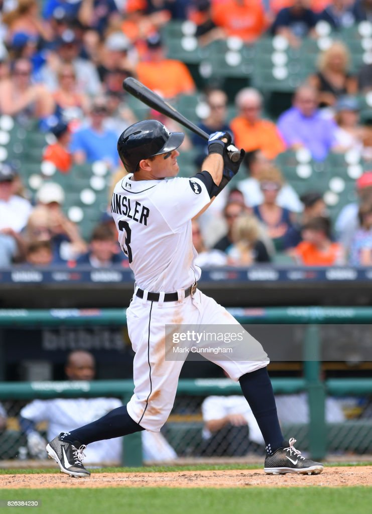 Ian Kinsler #3 of the Detroit Tigers bats during the game against the Toronto Blue Jays at Comerica Park on July 16, 2017 in Detroit, Michigan. The Tigers defeated the Blue Jays 6-5.