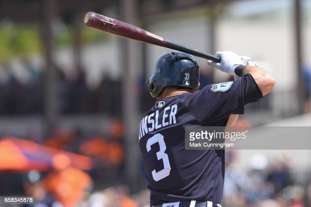 Ian Kinsler of the Detroit Tigers bats during the Spring Training game against the Toronto Blue Jays at Publix Field at Joker Marchant Stadium on...