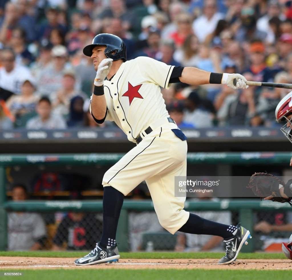 Ian Kinsler #3 of the Detroit Tigers bats while wearing a Detroit Stars Negro League Tribute uniform during game two of a double header against the Cleveland Indians at Comerica Park on July 1, 2017 in Detroit, Michigan. The Indians defeated the Tigers 4-1.