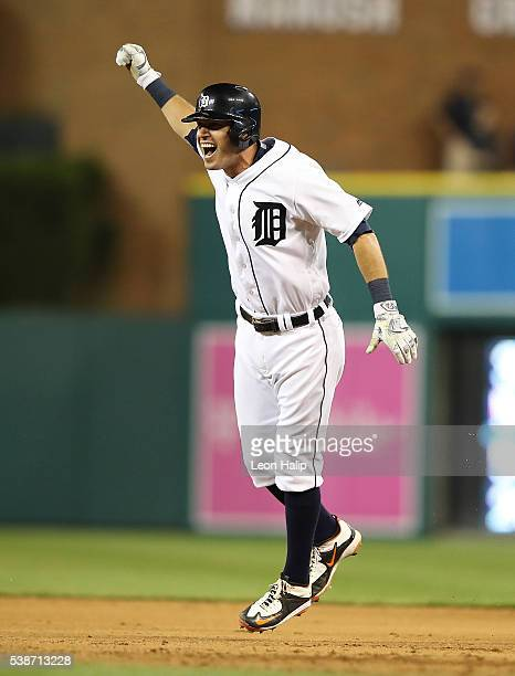 Ian Kinsler of the Detroit Tigers celebrates the game winning single in the tenth inning of the game against the Toronto Blue Jay on June 7 2016 at...