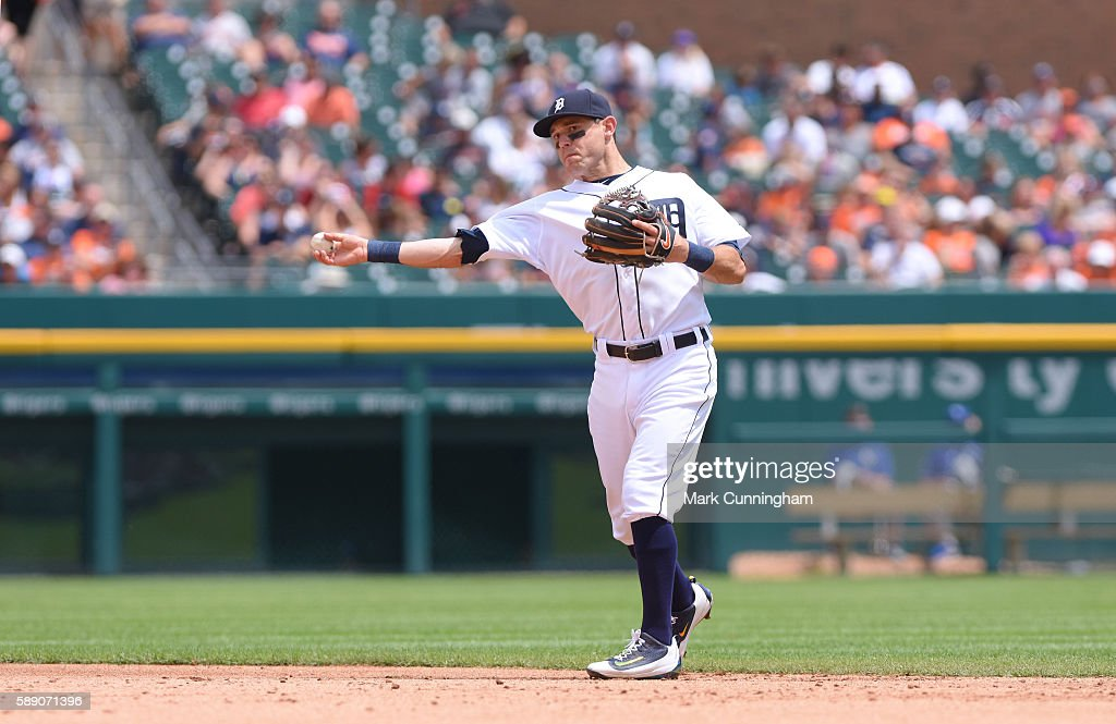 Ian Kinsler #3 of the Detroit Tigers fields during the game against the Kansas City Royals at Comerica Park on July 17, 2016 in Detroit, Michigan. The Tigers defeated the Royals 4-2.