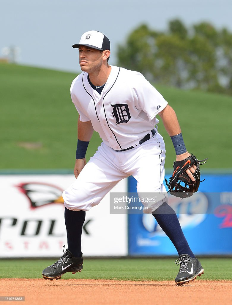 Ian Kinsler #3 of the Detroit Tigers fields during the spring training game against the Florida Southern College Moccasins at Joker Marchant Stadium on February 25, 2014 in Lakeland, Florida. The Tigers defeated the Moccasins 12-0.