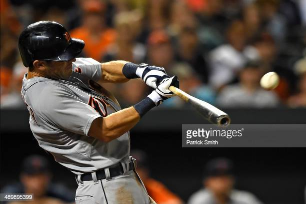 Ian Kinsler of the Detroit Tigers hits a home run against the Baltimore Orioles in the eighth inning at Oriole Park at Camden Yards on May 12 2014 in...