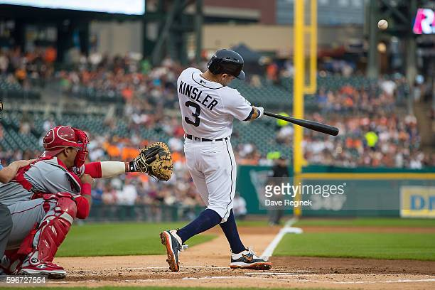 Ian Kinsler of the Detroit Tigers hits a solo home run in the first inning during a MLB game against the Los Angeles Angels at Comerica Park on...