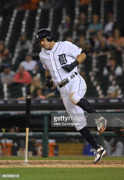 Ian Kinsler of the Detroit Tigers reacts after getting hit by a pitch during the game against the Chicago White Sox at Comerica Park on September 16...