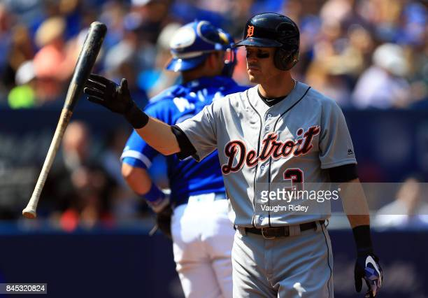 Ian Kinsler of the Detroit Tigers reacts after striking out in the first inning during MLB game action against the Toronto Blue Jays at Rogers Centre...