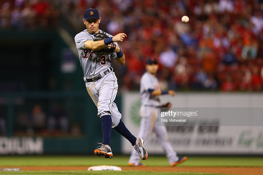 Ian Kinsler #3 of the Detroit Tigers throws a runner out at first base against the St. Louis Cardinals in the eighth inning at Busch Stadium on May 15, 2015 in St. Louis, Missouri.