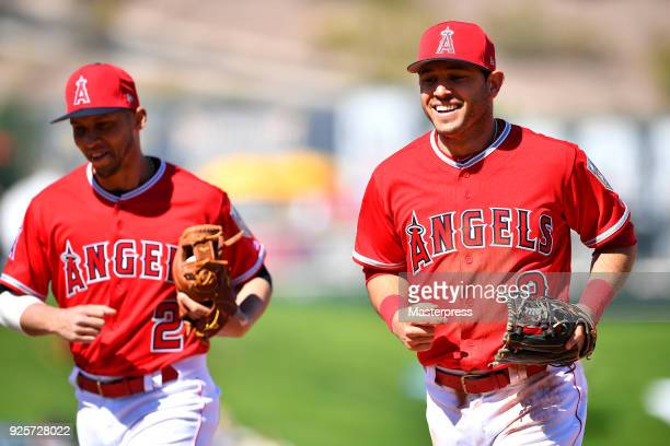Ian Kinsler of the Los Angeles Angels in action during the game between Cleveland Indians and Los Angeles Angels on February 28 2018 in Tempe Arizona