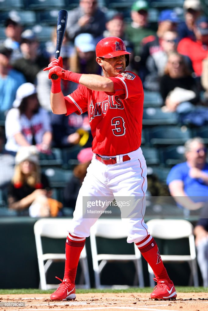 Ian Kinsler #3 of the Los Angeles Angels in action during the game between Cleveland Indians and Los Angeles Angels on February 28, 2018 in Tempe, Arizona.
