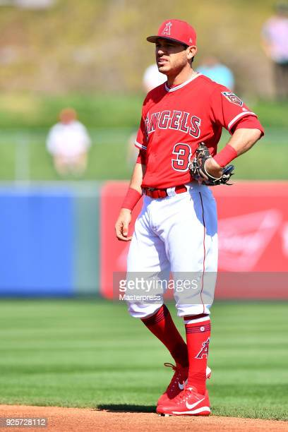 Ian Kinsler of the Los Angeles Angels is seen during the game between Cleveland Indians and Los Angeles Angels on February 28 2018 in Tempe Arizona