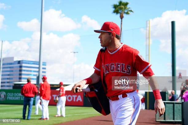 Ian Kinsler of the Los Angeles Angels is seen prior to the game between Cleveland Indians and Los Angeles Angels on February 28 2018 in Tempe Arizona