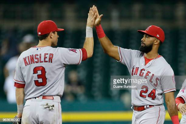 Ian Kinsler of the Los Angeles Angels of Anaheim celebrates with Chris Young after a 92 win over the Detroit Tigers at Comerica Park on May 29 2018...