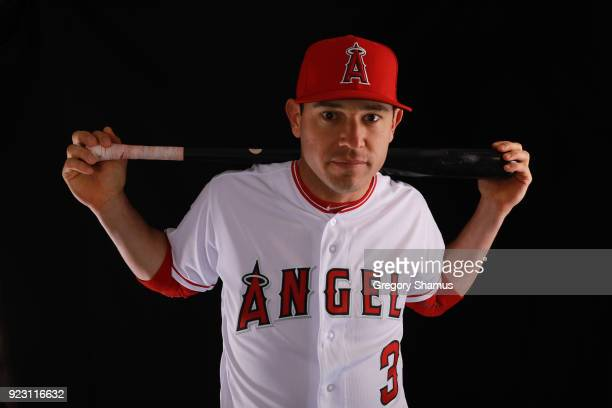 Ian Kinsler of the Los Angeles Angels poses during Los Angeles Angels Photo Day at Tempe Diablo Stadium on February 22 2018 in Tempe Arizona