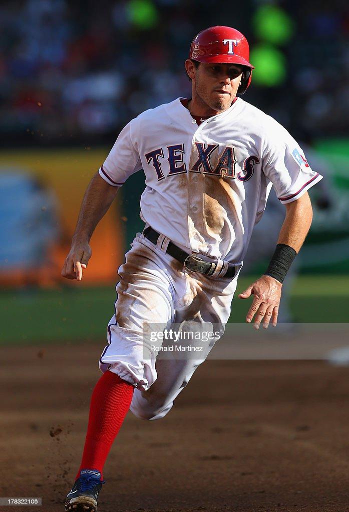 Ian Kinsler #5 of the Texas Rangers at Rangers Ballpark in Arlington on July 22, 2013 in Arlington, Texas.