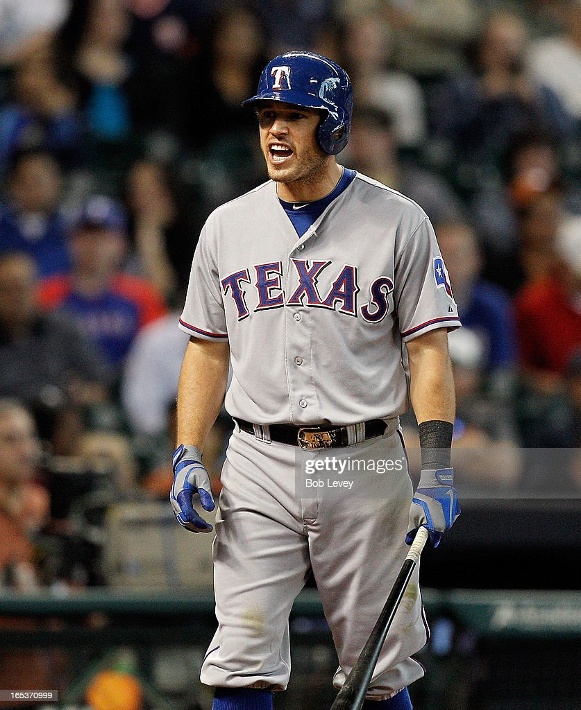 Ian Kinsler #5 of the Texas Rangers has words with the Houston Astros bench after he was almost hit in the head by pitcher Rhiner Cruz at Minute Maid Park on April 3, 2013 in Houston, Texas.