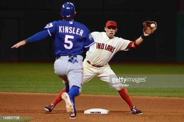 Ian Kinsler of the Texas Rangers is out at second after an attempted steal as shortstop Asdrubal Cabrera of the Cleveland Indians makes the catch...