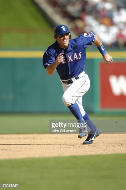 Ian Kinsler of the Texas Rangers runs the bases during the game against the Houston Astros at Rangers Ballpark in Arlington in Arlington Texas on...
