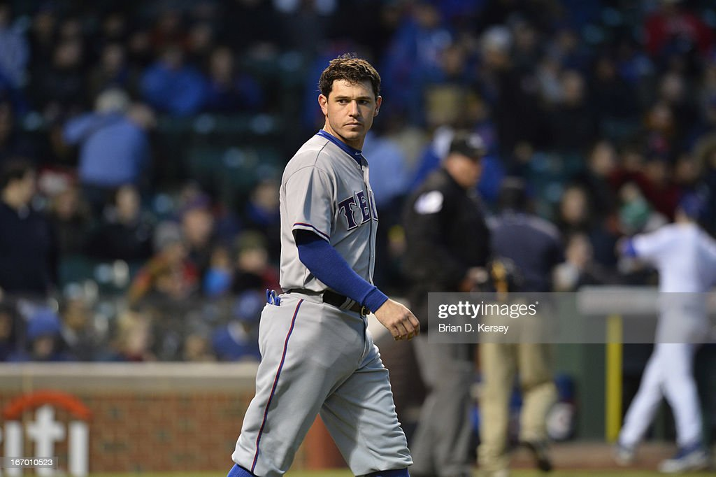 Ian Kinsler of the Texas Rangers stands on the field after the first inning against the Chicago Cubs at Wrigley Field on April 16, 2013 in Chicago, Illinois. All uniformed team members are wore jersey number 42 in honor of Jackie Robinson Day. The Rangers defeated the Cubs 4-2.