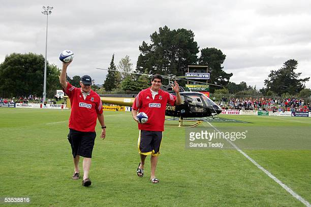 Ian Kirkpatrick and NZ Secondary Schools player Miah Austin arrive by helicopter to the Third Division NPC game between Povery Bay and Wairarapa Bush...